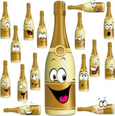 Bottle of Champagne funny cartoon — Stock Vector