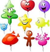 Komik noel renkli balonlar — Stok Vektör