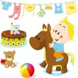 Baby on rocking horse — Stock Vector
