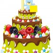 Birthday cake — Stockvector #15882461