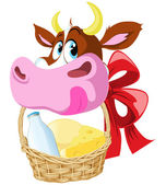 Cow holding basket — Stock Vector