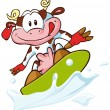 Cow surfing - Stock Vector
