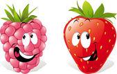 Fresa y frambuesa — Vector de stock