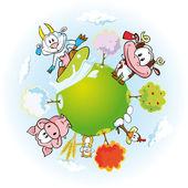 Farma zvířat země — Stock vektor