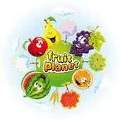 Planeta de fruta — Vector de stock