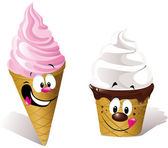 Two happy Ice creams — Stock Vector