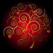 Valentine gold tree — Stock Vector