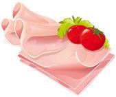 Ham slices vector illustration — Stock Vector