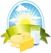Milk and cheese label — Stock Vector