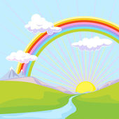 Landscape with rainbow — Stock Vector