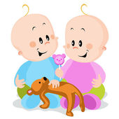 Twins - boy and girl — Stock Vector