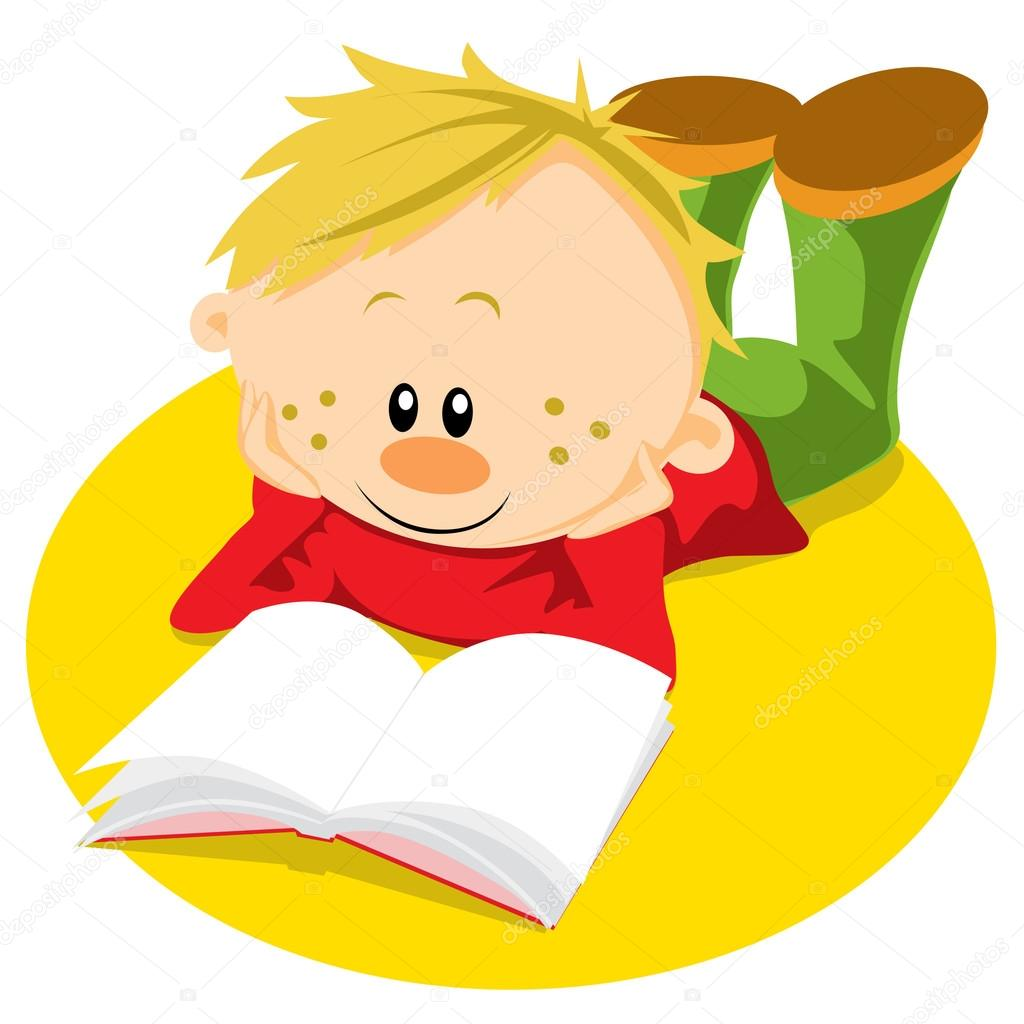 Little boy with book reading — Stock Vector #17454649