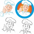 Chef icon and outline — Stock Vector