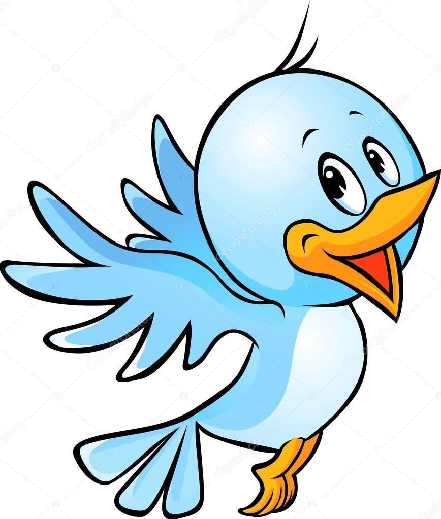 Cute blue bird flying cartoon stock illustration