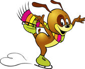 иллюстрация щенок катание на коньках, оставить след в форме сердца — Cтоковый вектор