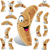 Pastry roll cartoon with many expressions — Vetor de Stock