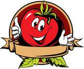 Round tomato cartoon label — Stock Vector