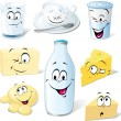 zuivelproduct cartoon - melk, yoghurt, kaas en boter — Stockvector