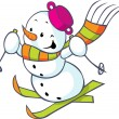 Cheerful snowman on skis — Stock Vector