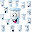 Dairy product in plastic cup - funny cartoon with many facial expressions isolated on white dairy  yogurt in plastic cup -  