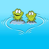 Frogs In Love sitting on a stone in water with heart shape waves — Stock Vector