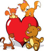Cute animals cartoon with valentines heart - fox, bear, weasel and squirrel — Stock Vector