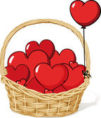 Basket full of love - hearts — Stock Vector