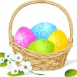 Colorful easter eggs in basket with spring flower decoration — Stock Vector