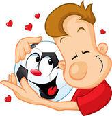 Love football - sportsman hugging beloved ball — Stock Vector