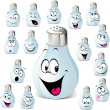 Salt shaker cartoon with many expressions - Stock Vector