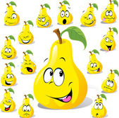 Pear cartoon with many expressions — Stock Vector