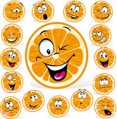Orange cartoon with many expressions — Stock Vector