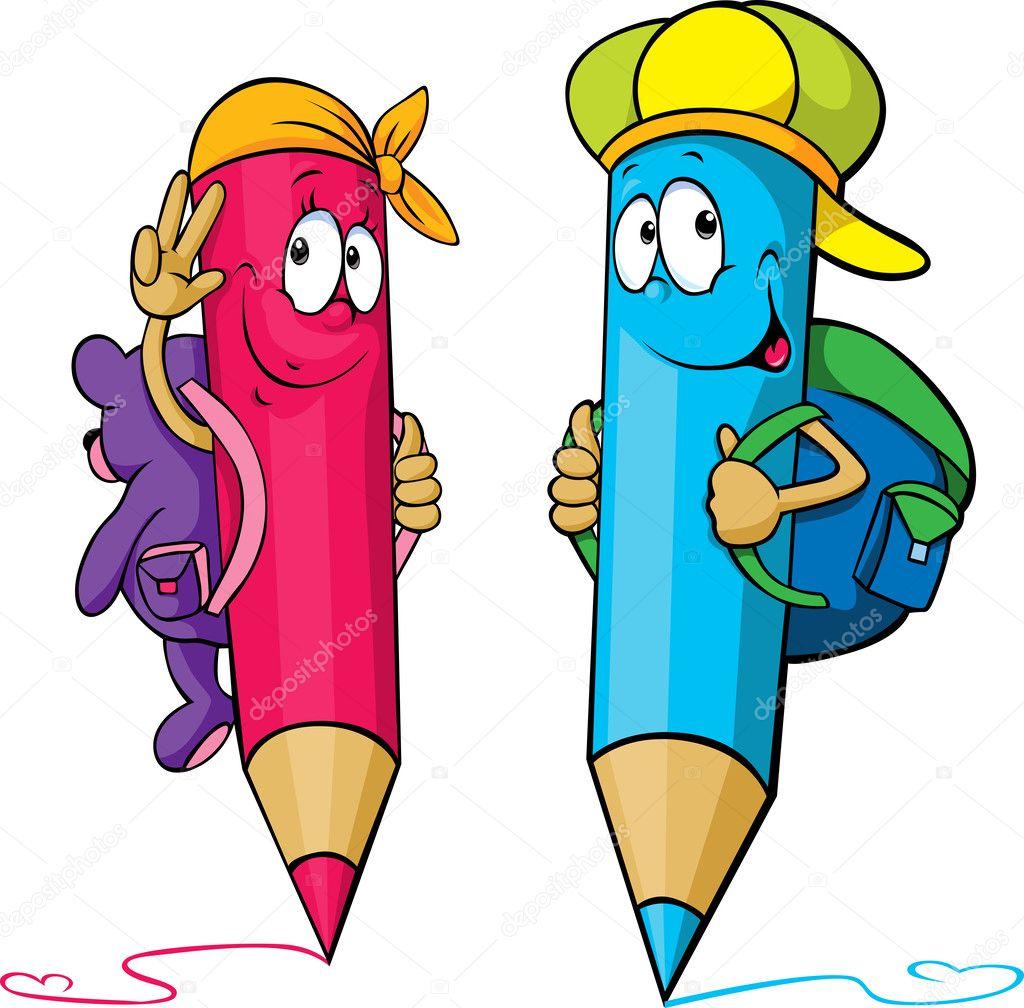 Cartone animato di matite colorate con borse scuola sulle