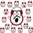 Alarm clock cartoon with many facial expressions — Stockvektor