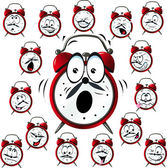 Alarm clock cartoon with many facial expressions — Stock Vector