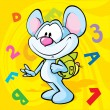 Cute mouse cartoon illustration with school bag  — Векторная иллюстрация