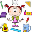 Illustration of a girl with school supplies — Stock Vector