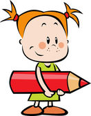 Illustration of child with pencil - little girl hold red crayon — Stock Vector