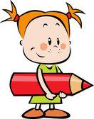 Ilustrace dítěte s tužkou - holčička drží červená pastelka — Stock vektor