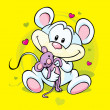 Cute mouse holding doll  — Stock vektor