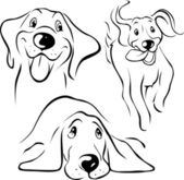 Dog illustration - black line — Stock Vector