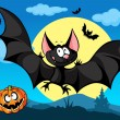Halloween picture with pumpkin, cute bats and moon in the back — Stock Vector #33351259