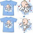 Kid shirt with cute angel printed — Stock Vector