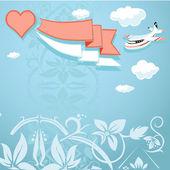 Ročník pozadí se srdcem a letadlo — Stock vektor