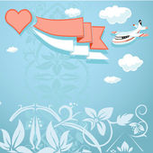 Vintage background with heart and airplane — Stock Vector