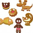 Cute christmas gingerbread cookies isolated on white background  — Stock Vector