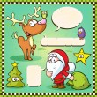 Reindeer, owl and santa isolated with speech bubble on vintage frame  — Stock Vector