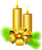 Golden candle with bow decoration and fir twig isolated in front of white background — Vettoriale Stock
