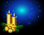 Blue christmas background with golden candle — Vecteur