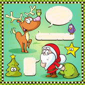 Reindeer, owl and santa isolated with speech bubble on vintage frame — Wektor stockowy